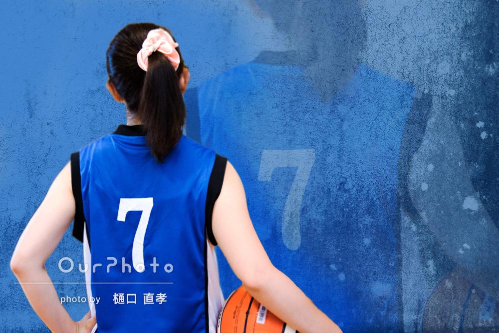 スポーツ(バスケット)中のプロフィール撮影