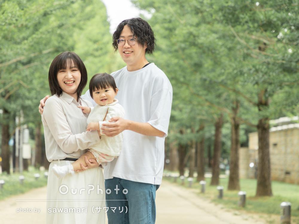 「やわらかい雰囲気で素敵でした」1歳の誕生日記念に家族写真の撮影