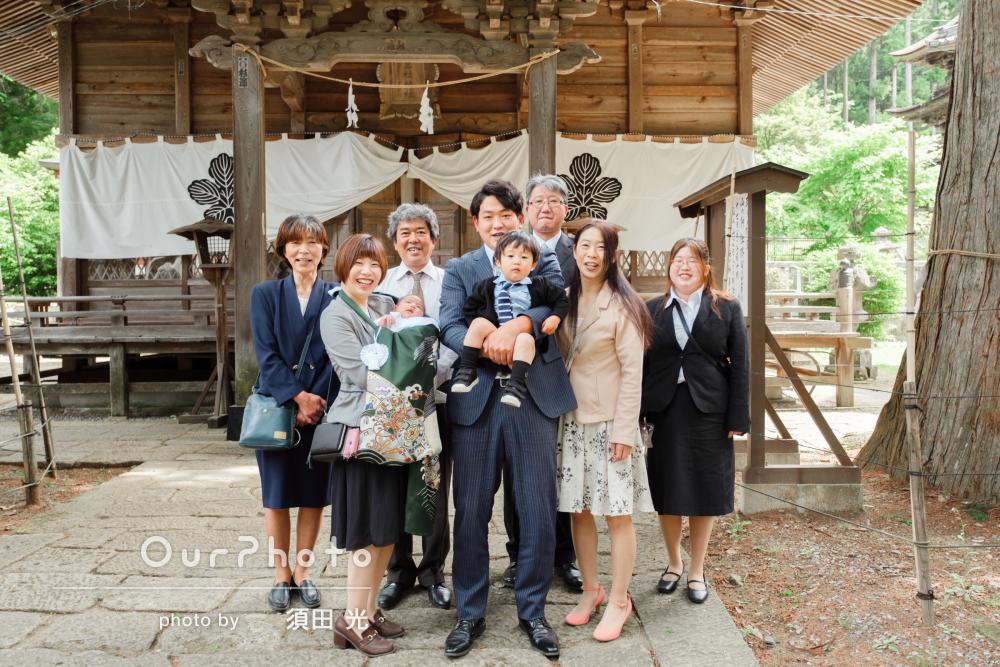 「とてもいい写真ばかり」三世代そろって神社で兄弟のお宮参りの撮影