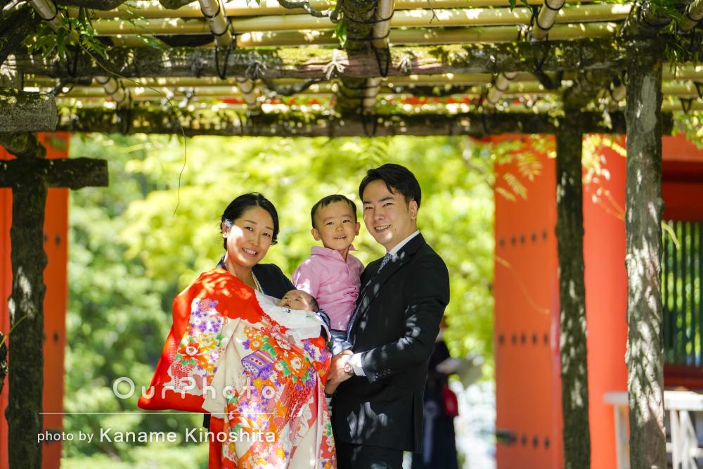 「とても良い表情の写真を撮って」家族4人で女の子のお宮参りの撮影