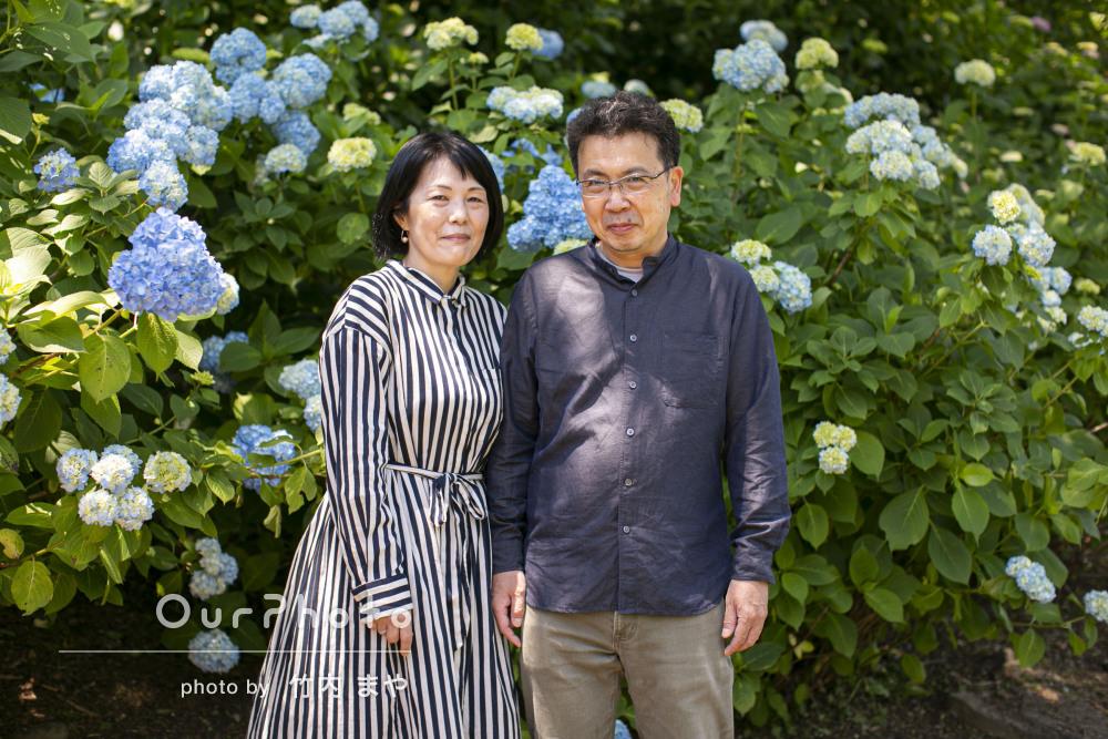 「素敵な写真をありがとう」紫陽花が美しく輝く家族写真の撮影