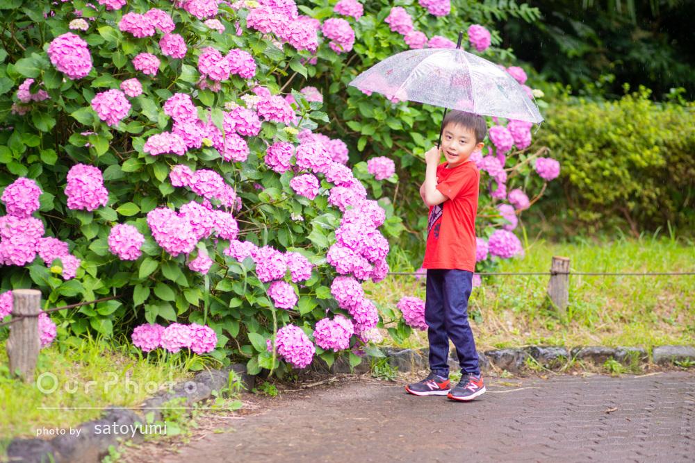 「息子も喜んでいました!」雨でも元気いっぱいな男の子の家族写真の撮影