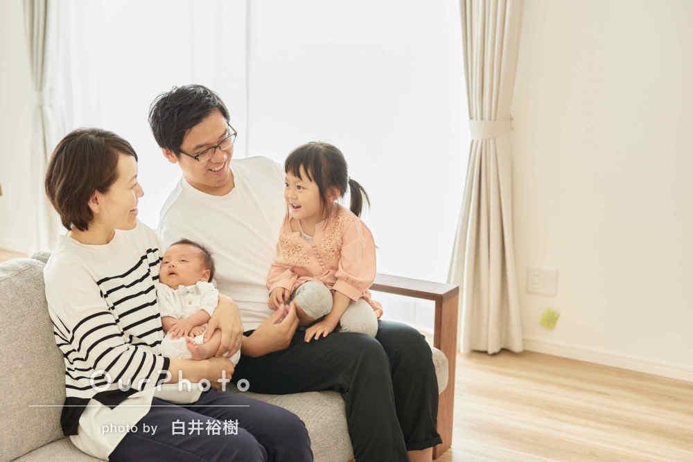 「笑顔の写真が撮れてとても満足」赤ちゃんと一緒に家族写真の撮影