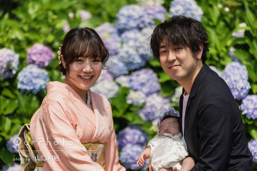 「大満足です!!」美しい紫陽花に鮮やかなお祝い着でお宮参りの撮影