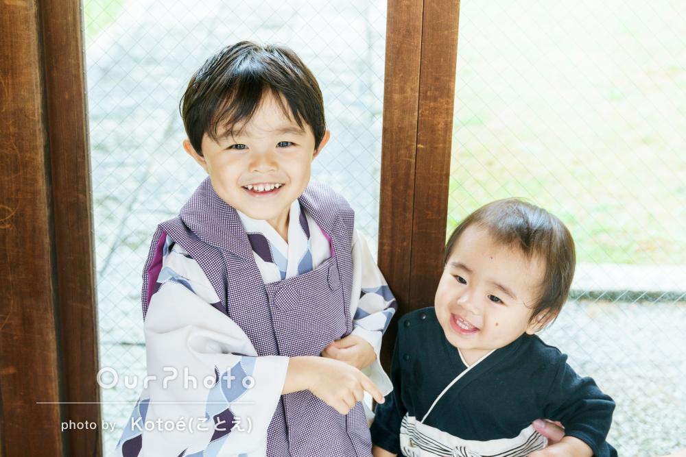 「ニコニコ笑顔で撮影ができました!」神社で男の子の3歳の七五三の撮影