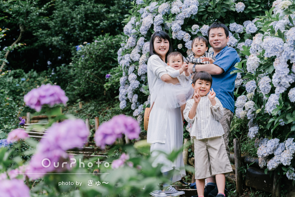 「本当に満足のいく作品」紫陽花が咲き誇るお寺で家族写真の撮影