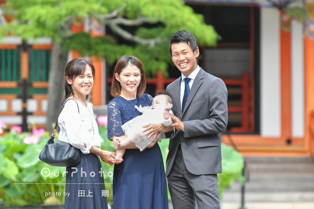 「とても楽しく撮影」ご家族に朗らかな笑顔が広がるお宮参りの撮影