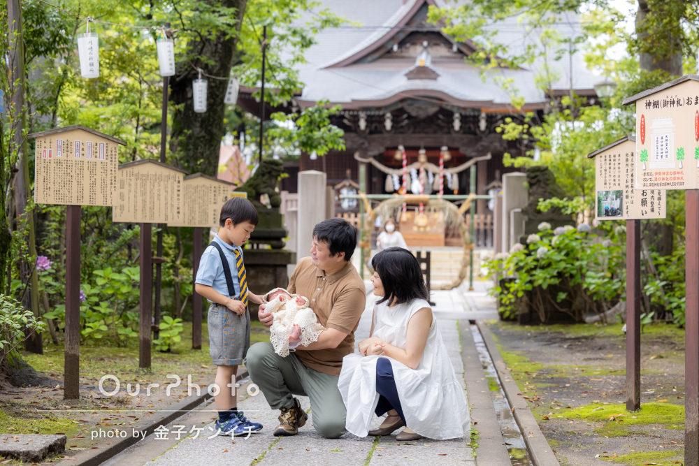 「明るいお写真を残して頂き」梅雨の季節に家族でお宮参りの撮影