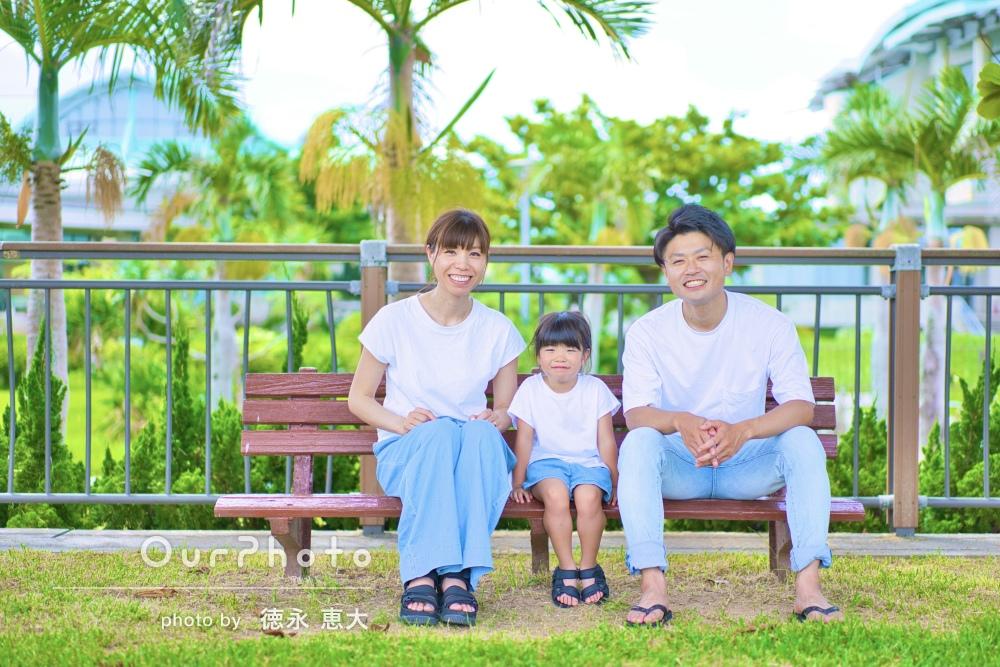 「要望を全て取り入れて頂いた」沖縄の海でリンクコーデの家族写真の撮影