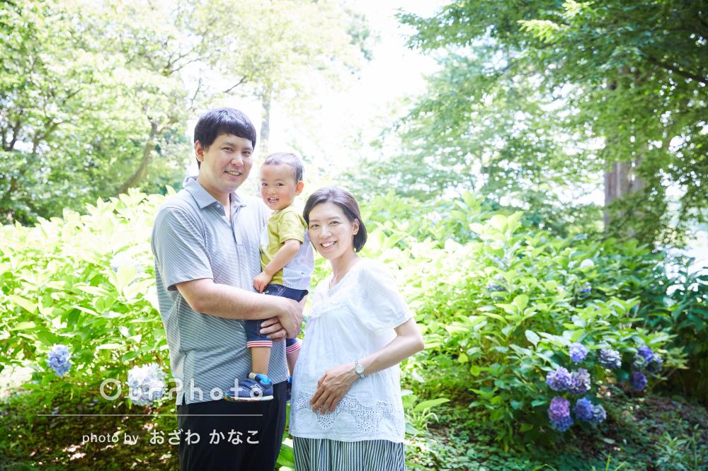 「息子が心を開くまでの時間も早かった」紫陽花咲く公園で家族写真の撮影