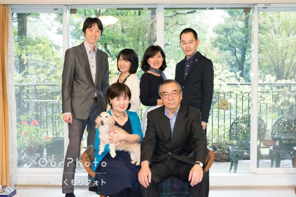 母の誕生日を祝って!ご自宅で家族写真の撮影