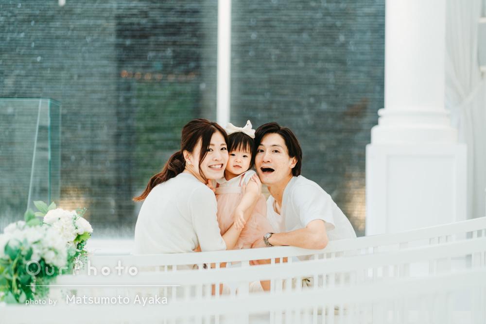 「とても素敵に撮って頂きました」白リンクコーデが素敵な家族写真の撮影