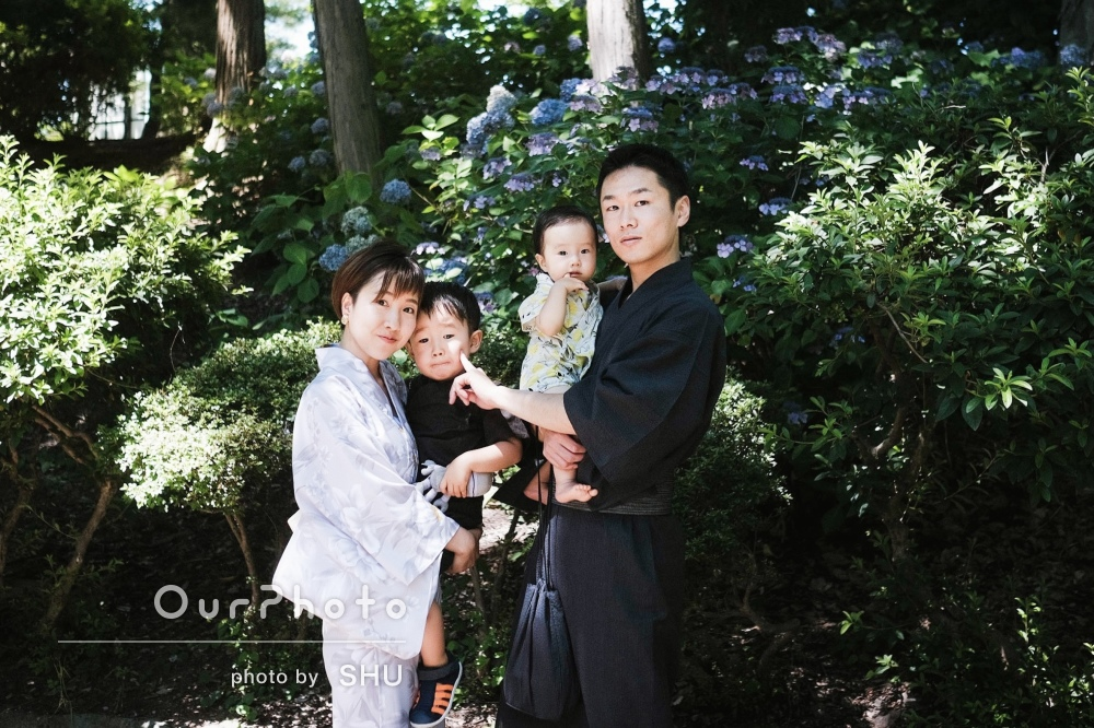 「いろいろなシチュエーションで撮っていただきました」家族写真の撮影