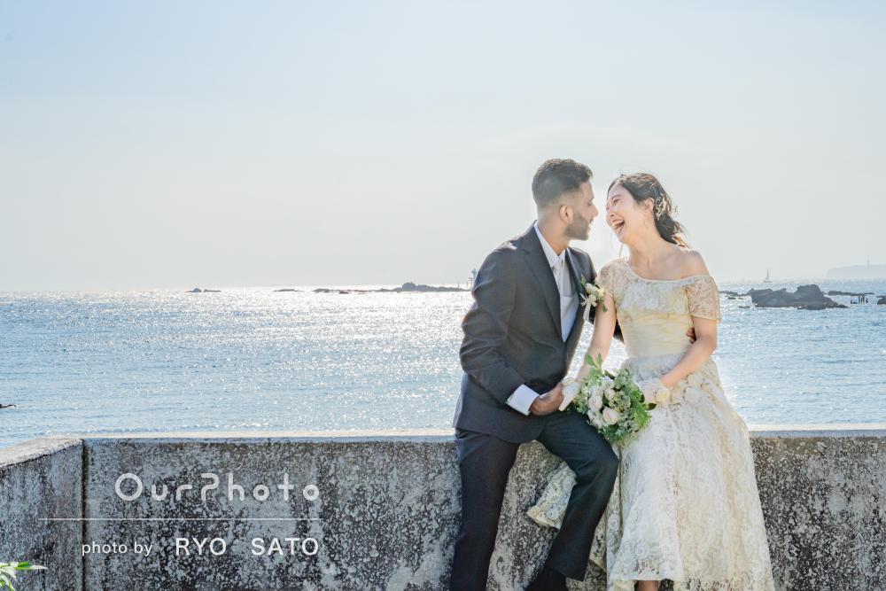「一生の思い出になりました」きらめく海岸でウェディングフォトの撮影