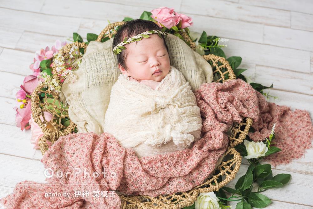「赤ちゃんの負担を一番に考えて」自宅でニューボーンフォトの撮影