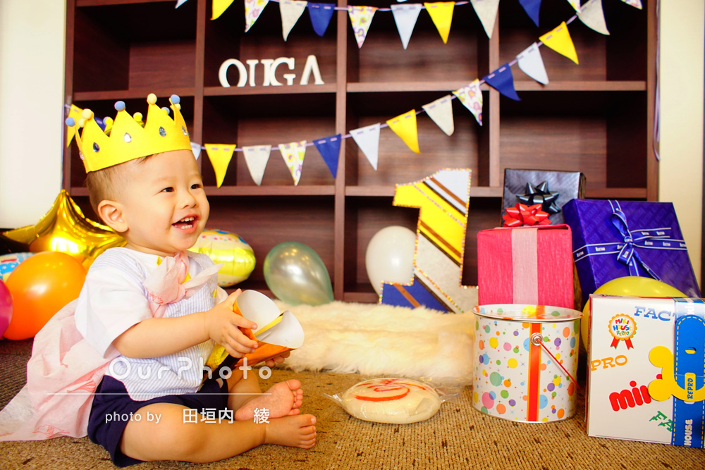 一歳の誕生会の撮影