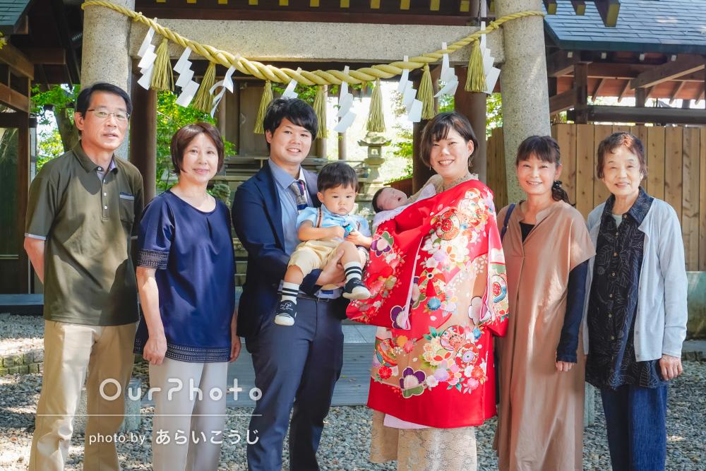 「とてもいい思い出になりました」祖父母も一緒に神社でお宮参りの撮影