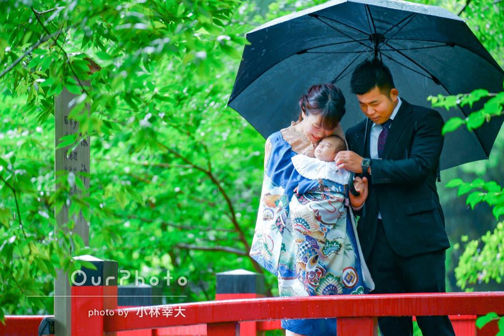 「むしろ雨で良かった」雨の日だからこその趣のあるお宮参りの撮影