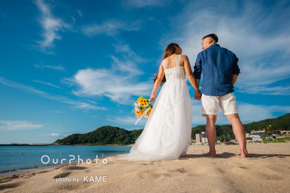 「最後まで丁寧に撮っていただきました」砂浜でカップルフォトの撮影