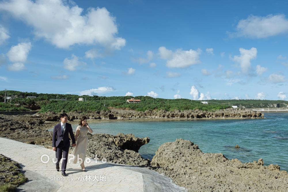 「笑顔いっぱいの素敵な写真でほんと嬉しい」海辺でカップルフォトの撮影