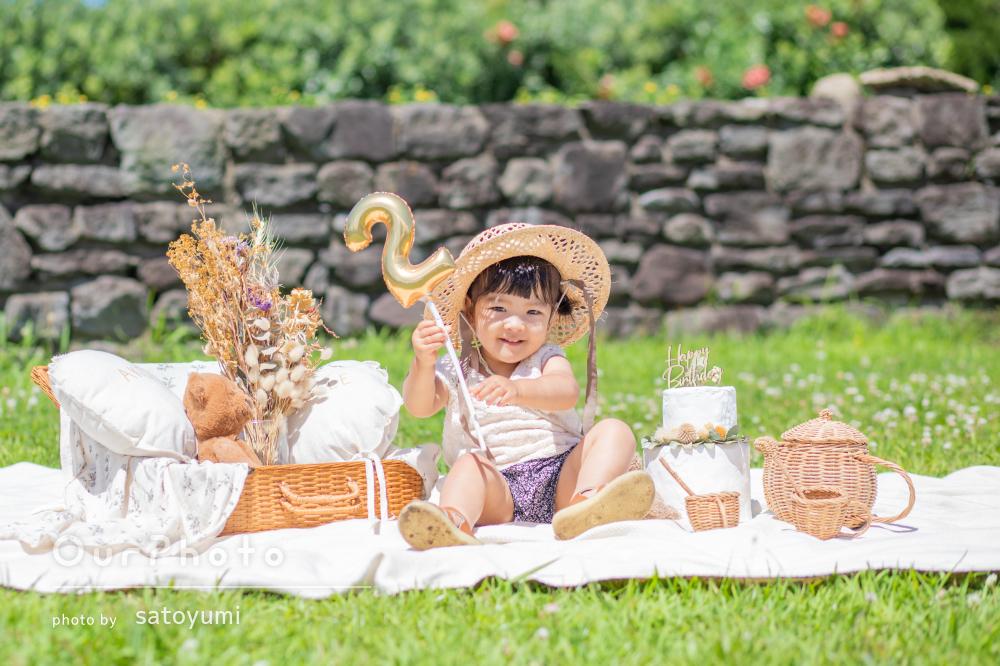 「とっても可愛くて素敵な写真」ひまわり畑で誕生日記念の家族写真の撮影