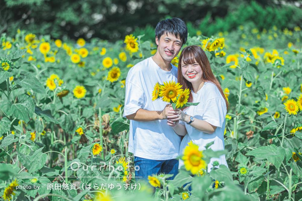 「子供の頃からの夢が叶い」ひまわり畑で夏らしいカップルフォトの撮影