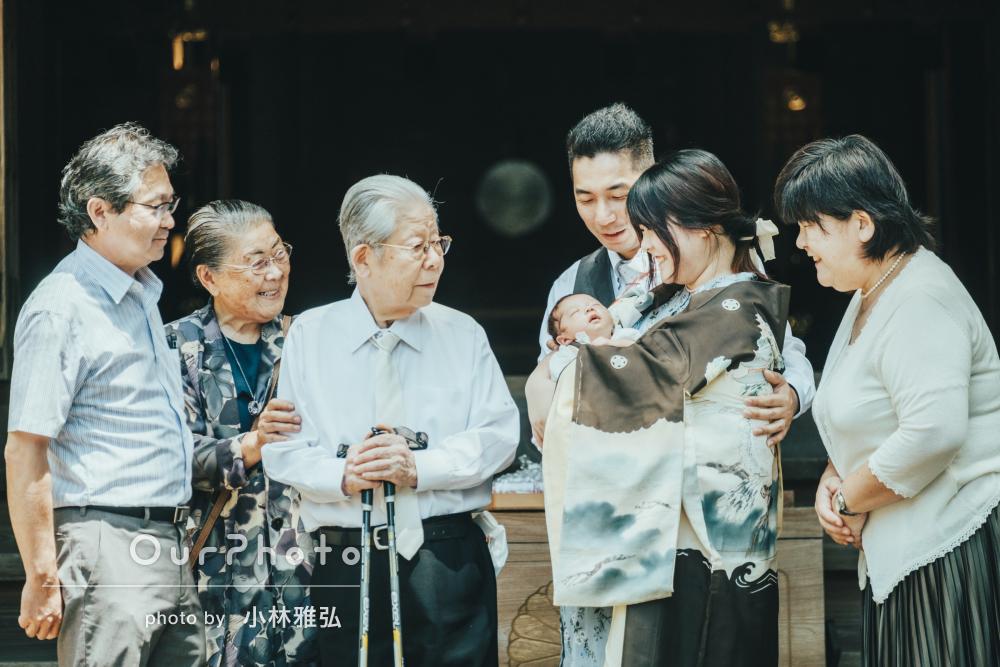 「お写真は雰囲気がとても良く素敵」祖父母も一緒にお宮参りの撮影