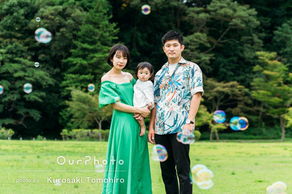 「こちらの要望にとても真摯に対応して」夏の公園で家族写真の撮影
