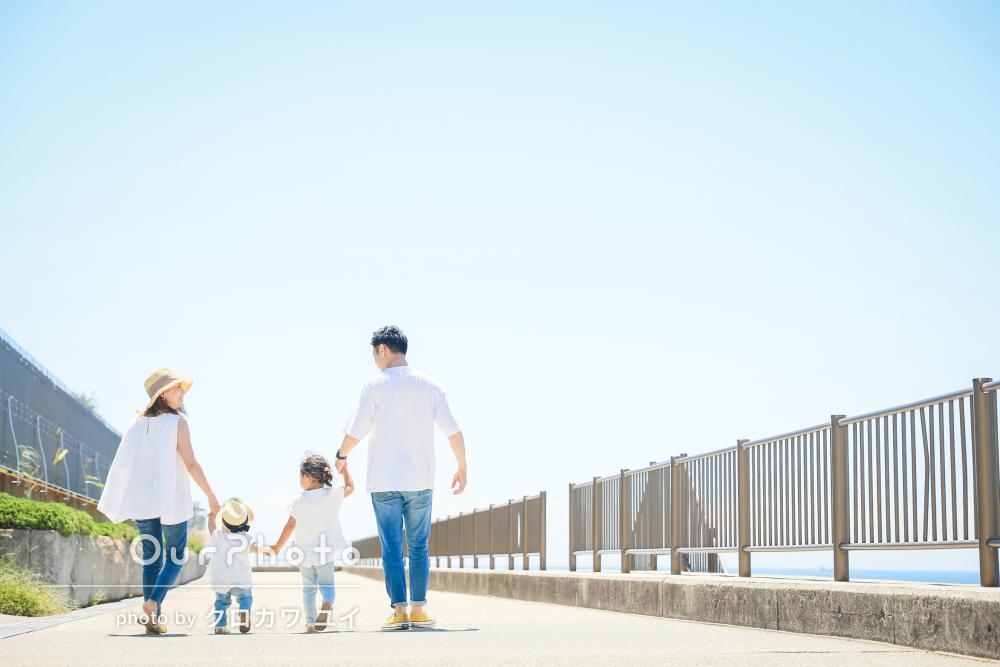 「写真もとてもお気に入り」青く晴れ渡った空の下で家族写真の撮影
