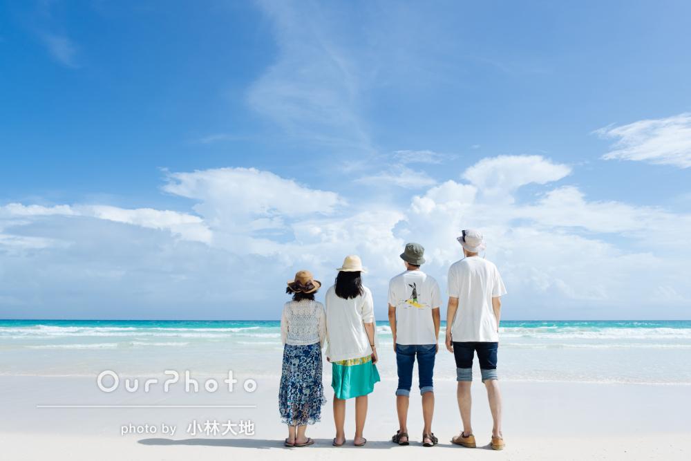 「望んでいたとおりのビーチでのお写真」沖縄の海辺で家族写真の撮影