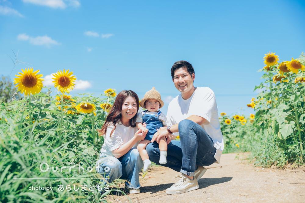 「生き生きしてて、とにかく楽しそう」1歳のお誕生日に家族写真の撮影