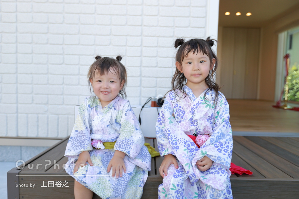 「最高の記念写真になりました」新築祝いに浴衣姿で姉妹の家族写真の撮影