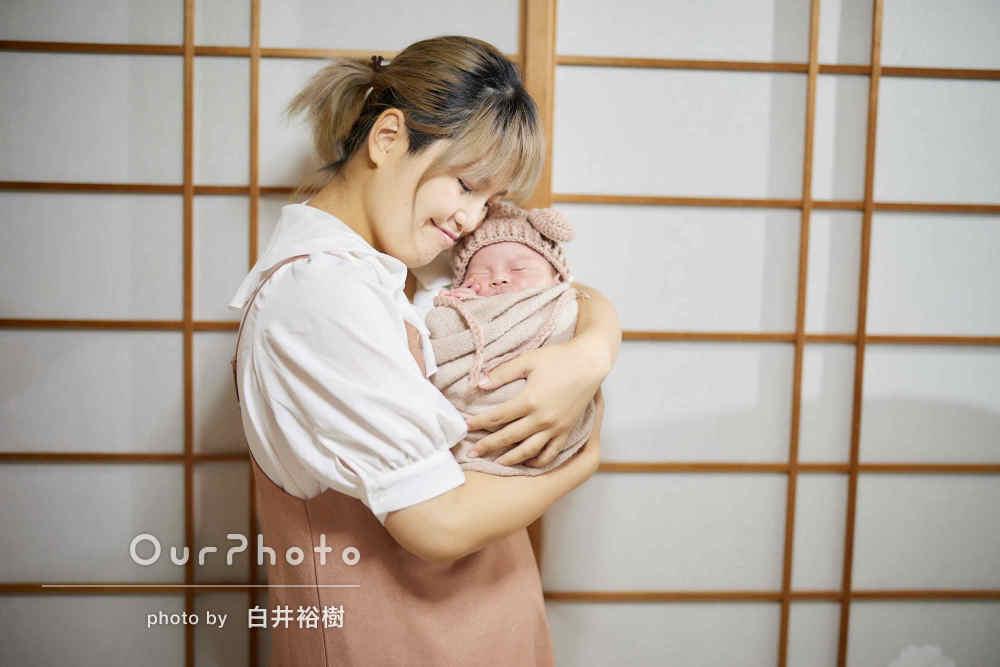 「赤ちゃんがぐずっても泣きやましてくれたり」ニューボーンフォトの撮影