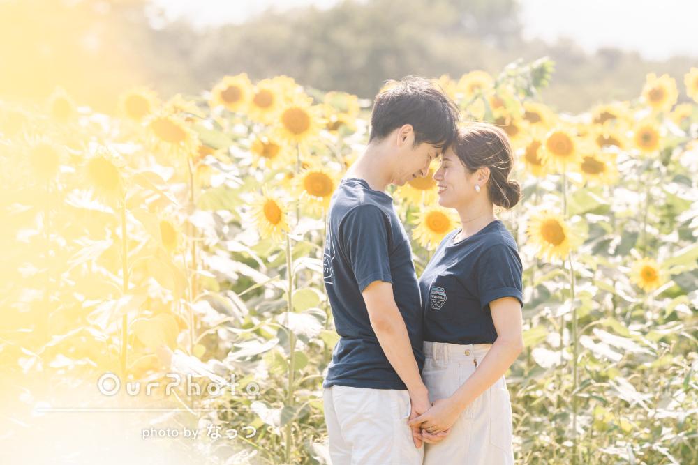 「とても楽しくてあっという間の一時」ひまわり畑でカップルフォトの撮影