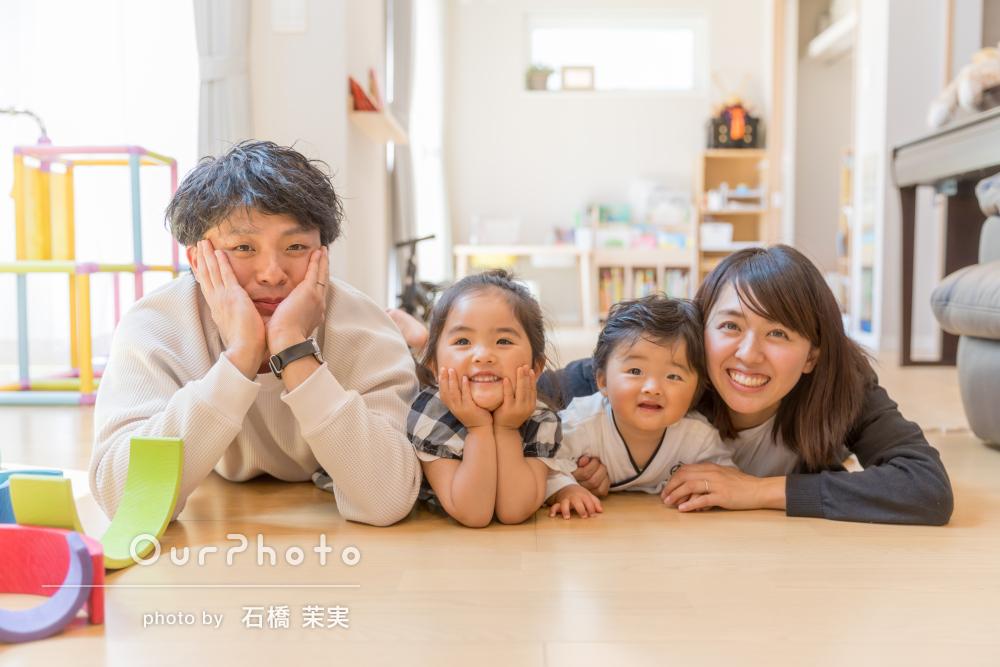 「当日は和やかな雰囲気で撮影」お誕生日と初節句記念で家族写真の撮影