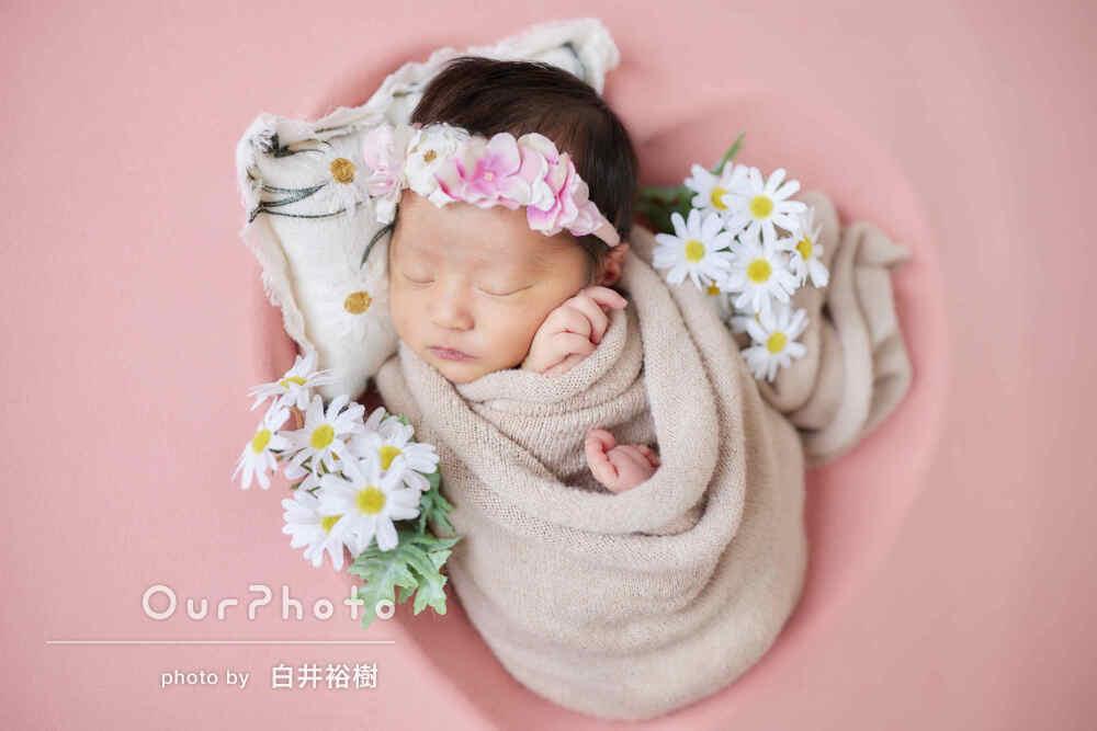 「とても可愛い思い出写真」自宅で女の子のニューボーンフォトの撮影