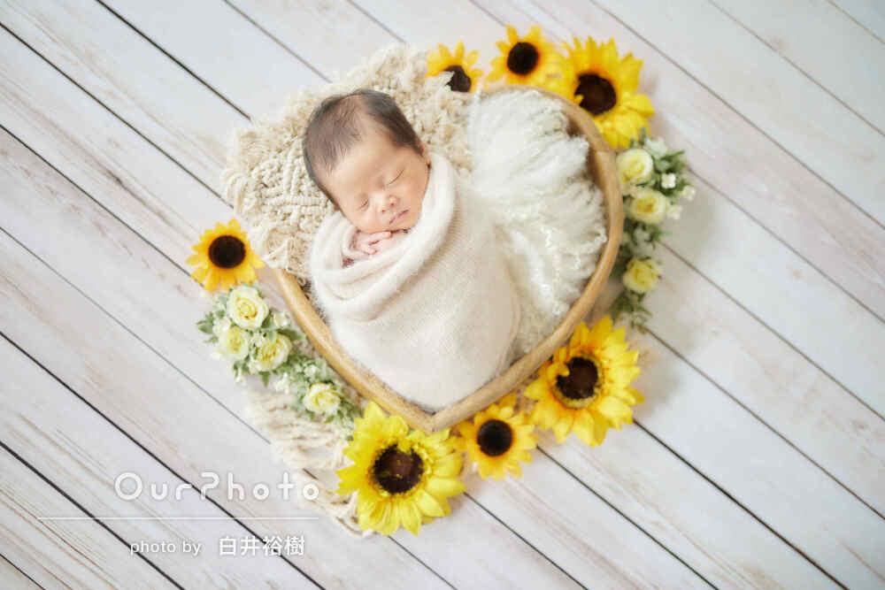 眠った顔が可愛い!様々な小物を使用して自宅でニューボーンフォトの撮影