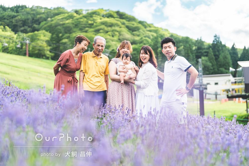 「不慣れな家族も自然な笑顔」高原で紫色のお花と共に家族写真の撮影