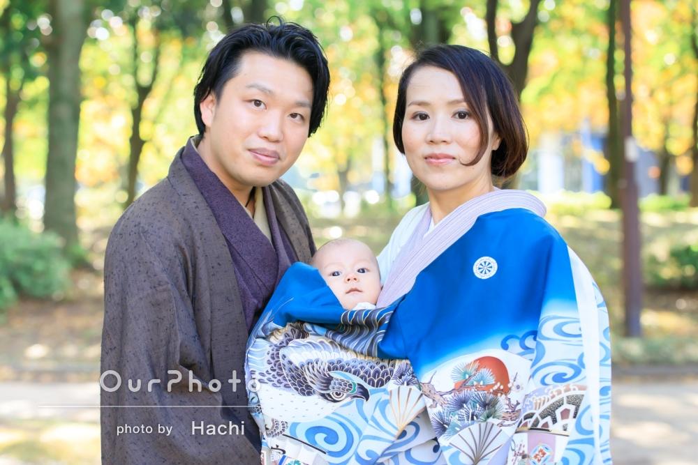 「色々なポーズでとてもキレイ!」神社近くの公園でお宮参りの撮影