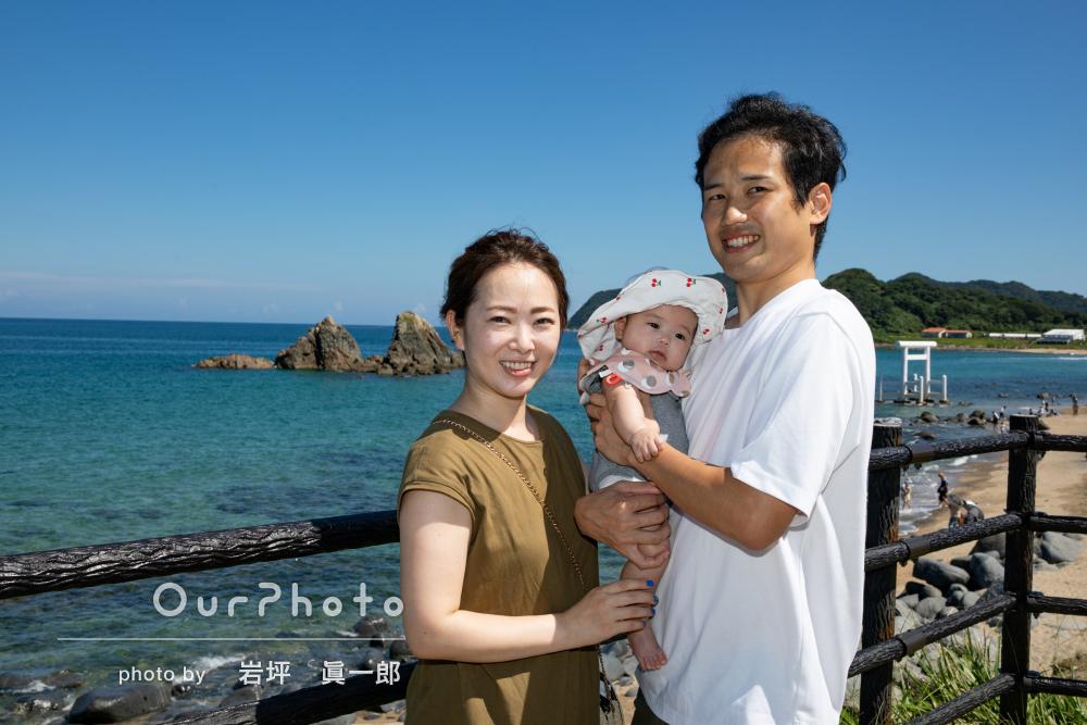 「急なお願いでしたがとても丁寧に対応して頂き」夏の海で家族写真の撮影