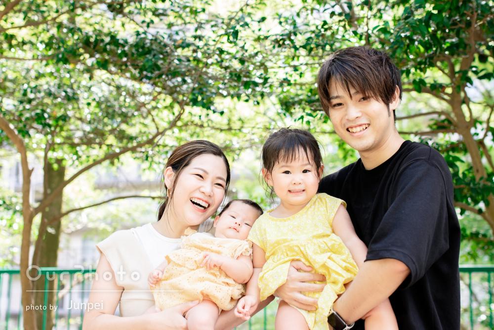 「子供もとても懐いていて楽しそうでした」可愛い姉妹の家族写真の撮影