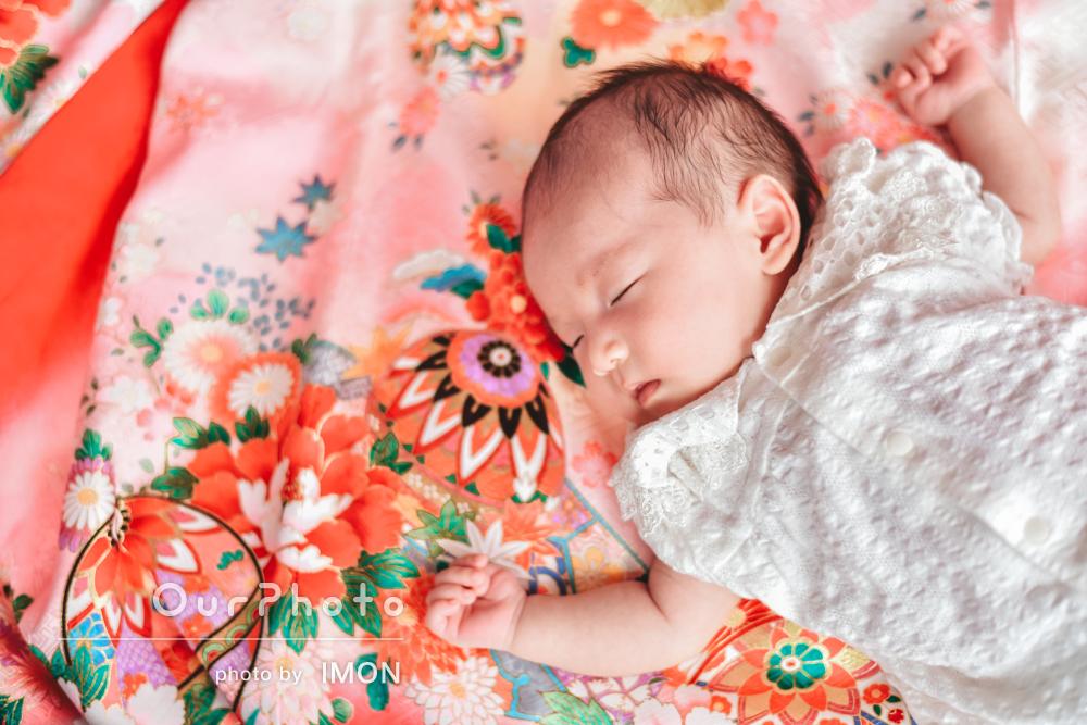 「娘の写真は宝物になり」幸せそうな寝顔が可愛いお宮参り写真の撮影