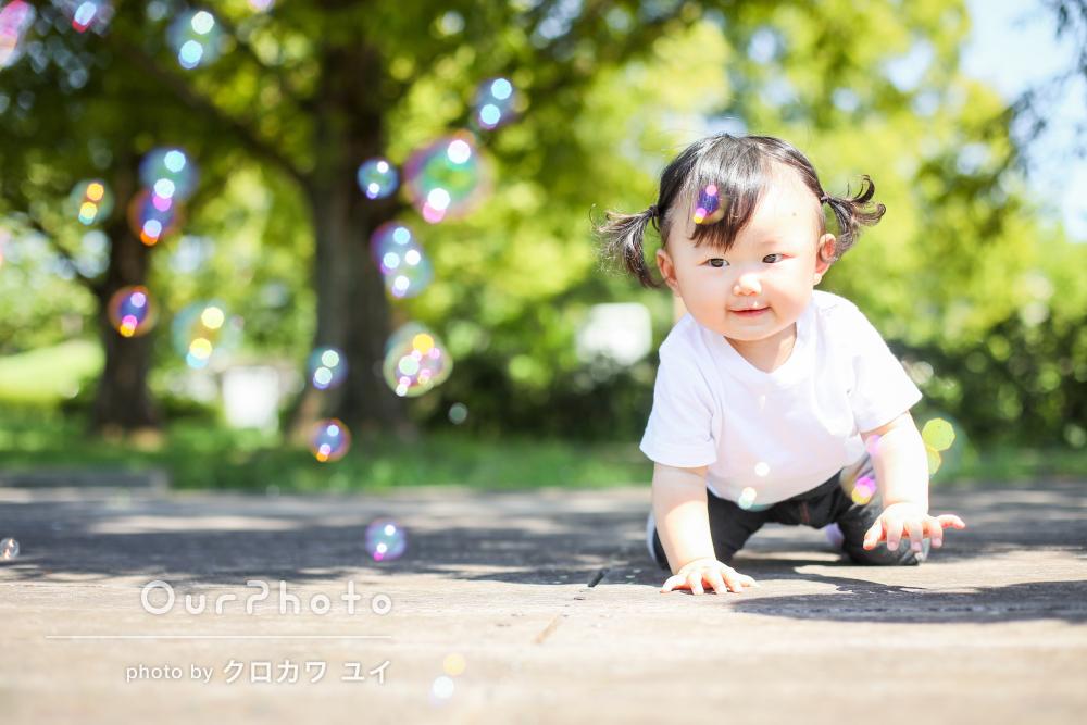 「いい写真を沢山撮って頂き」緑がまぶしい夏の公園で家族写真の撮影