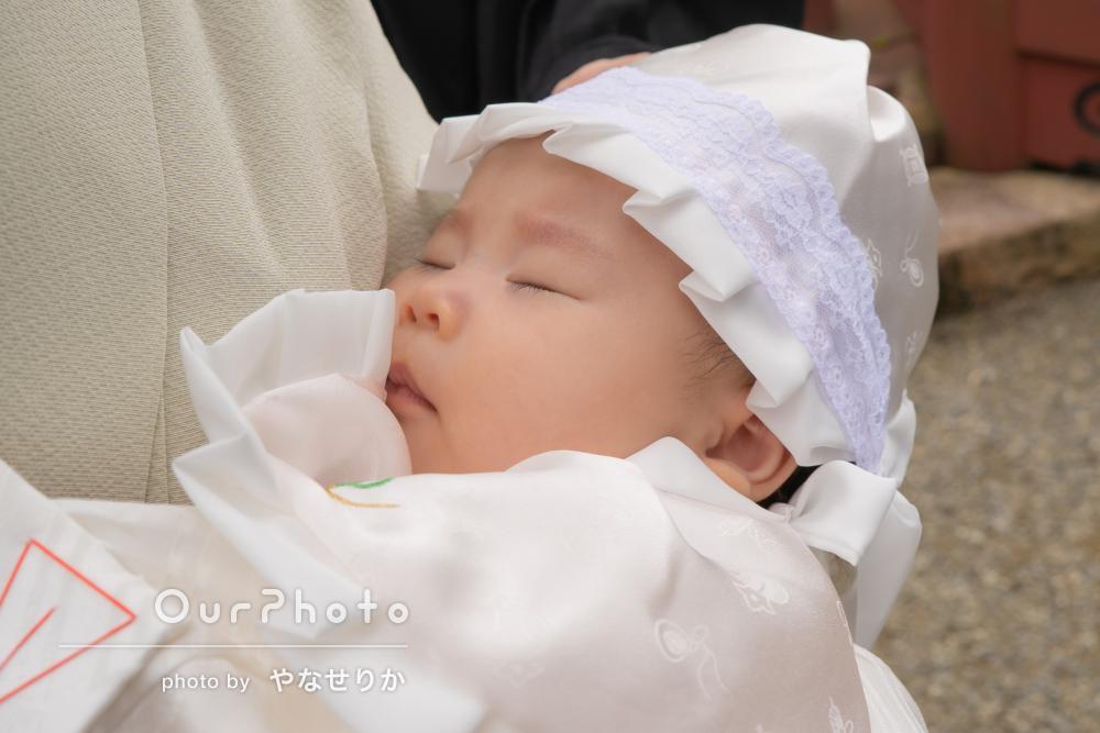 「一生に一度の写真」家族そろって赤ちゃんも嬉しそうなお宮参りの撮影