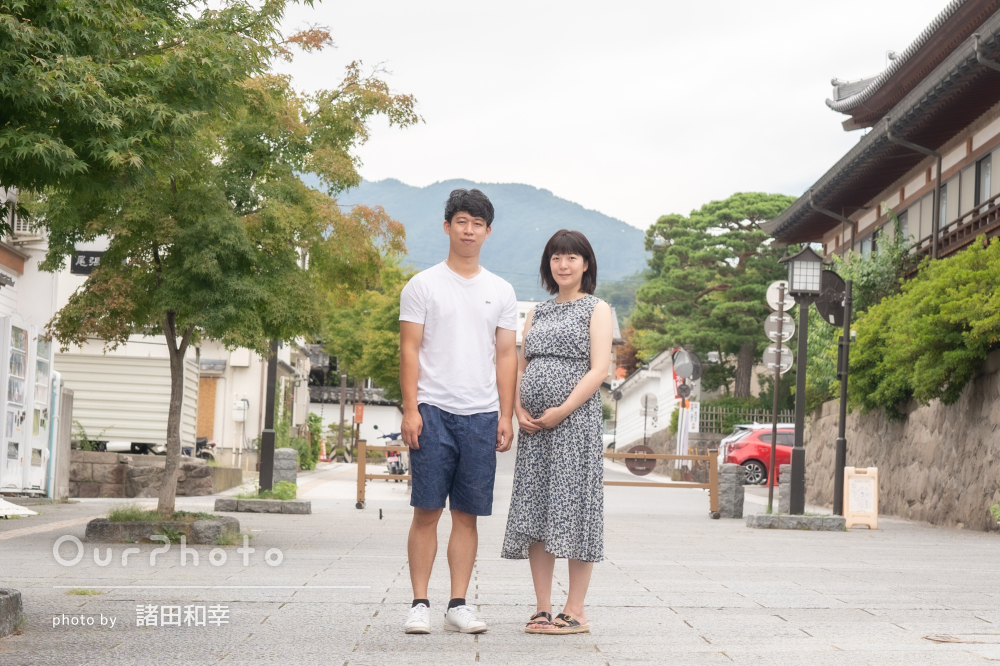 「とても和やかな雰囲気」風情ある街並みでマタニティフォトの撮影