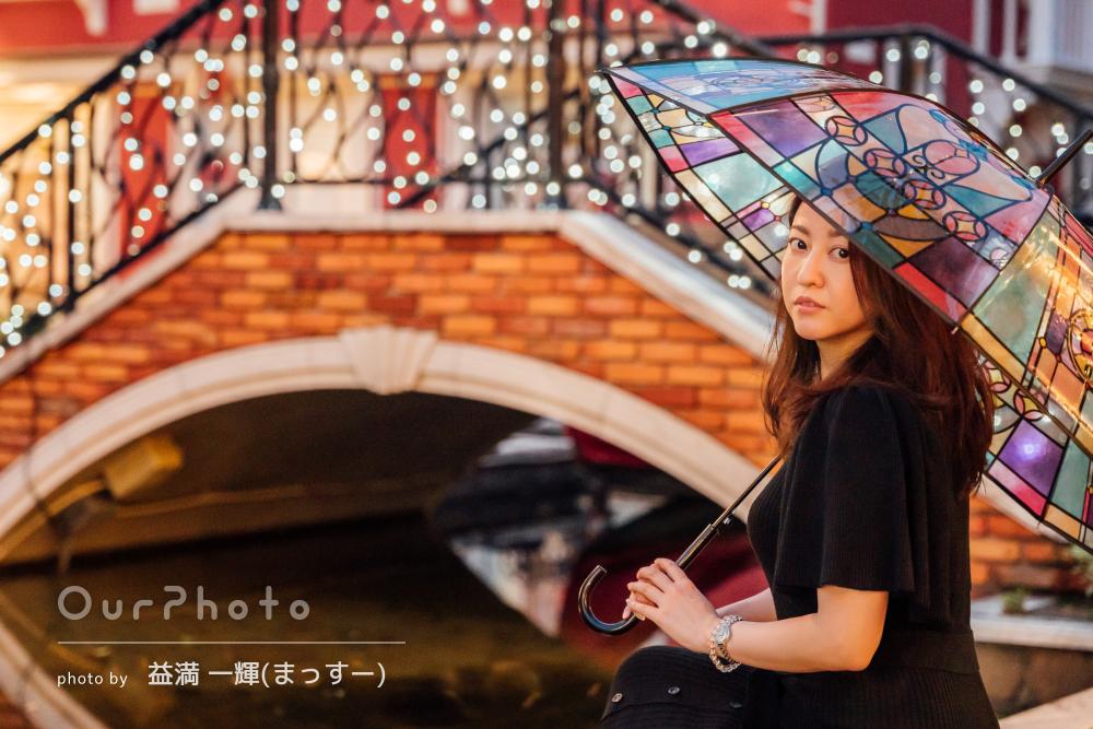 「イメージ通りのお写真ばかり」傘がアクセントなプロフィール写真の撮影