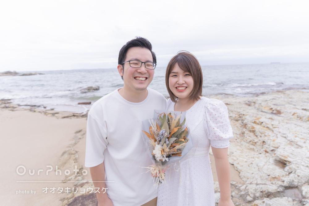 「楽しみながら写真を撮ることができました」海辺でカップルフォトの撮影