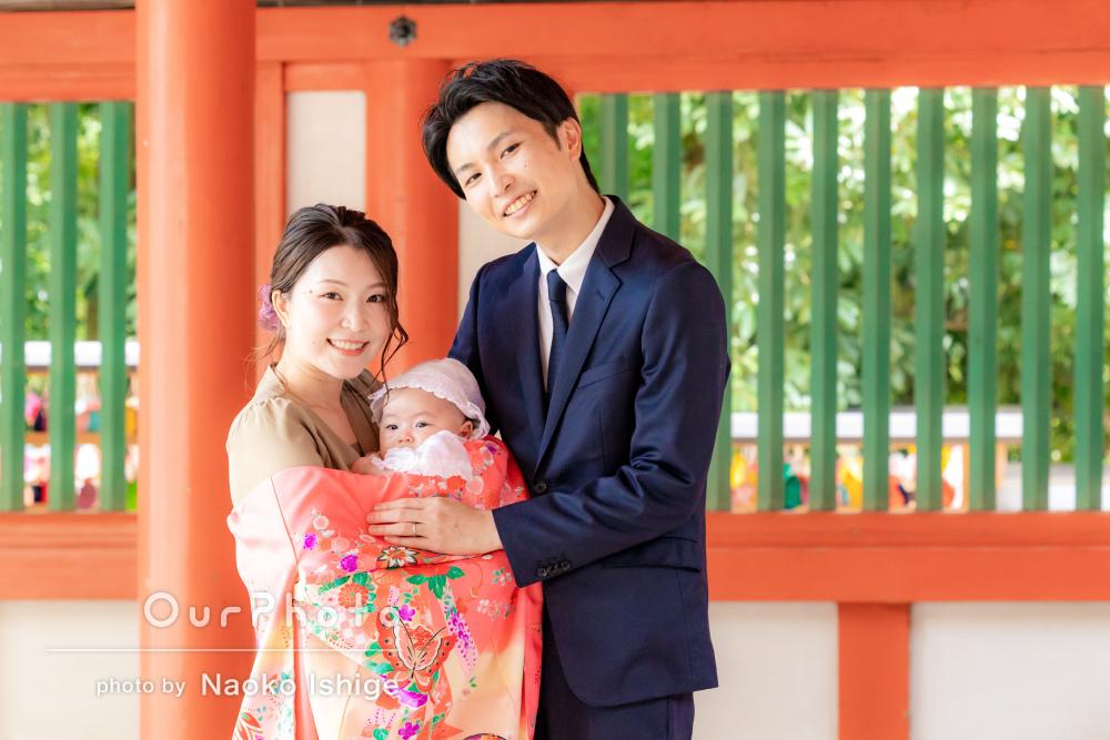 「さすがプロだなと思える写真ばかり」自然豊かな神社にてお宮参りの撮影