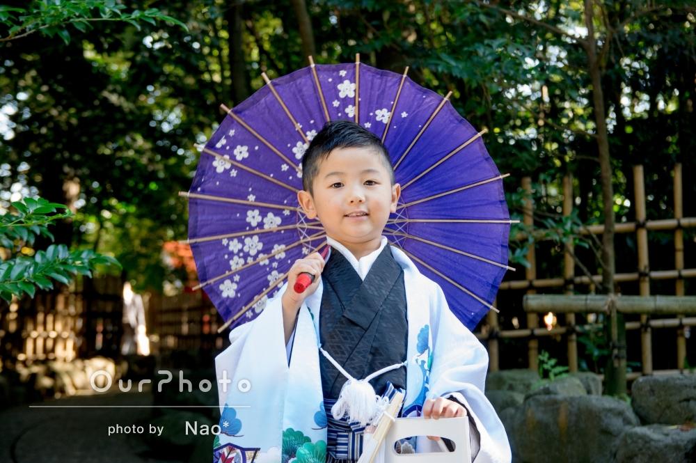 「リラックスして写真が撮れた」5歳の男の子の七五三撮影