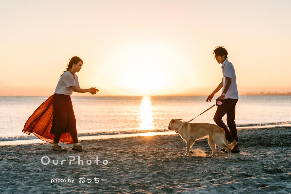 「素敵な写真ありがとうございます」愛犬も一緒にカップルフォトの撮影
